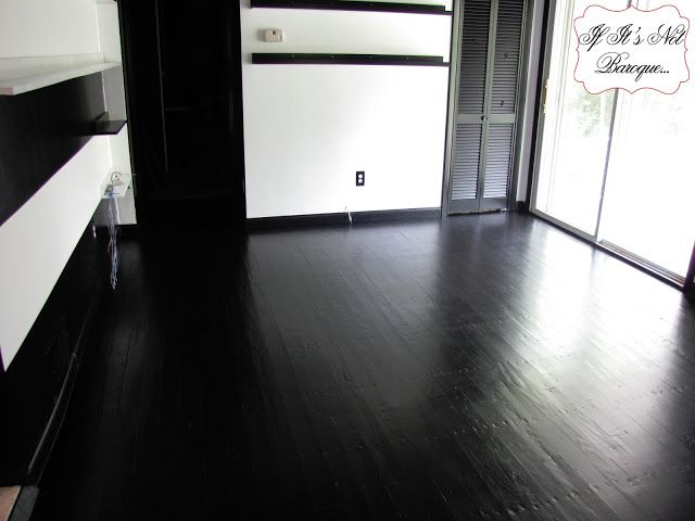 wood painted black gloss | polyurethane over latex paint for several days  to let the paint - A Country Farmhouse: Gray Painted Floors, White Plank Walls