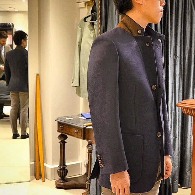 """""""Sojourn coat // designed for a cold Japanese winter holiday. Notched lapel with collar tab and button under turn, rolling 3rd button, patch pockets and…"""""""