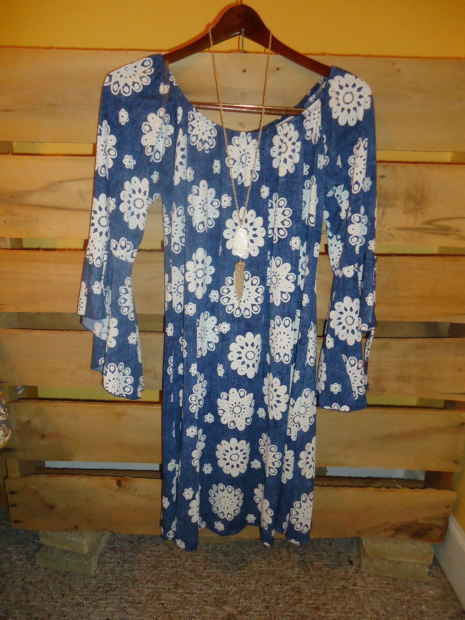 Honeyme 2B Together Utah 807X Denim Blue Bell Sleeve Tunic Dress ...