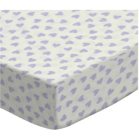 SheetWorld Fitted Sheet (Fits BabyBjorn Travel Crib Light) - Pastel Lavender Hearts Woven, Multicolor