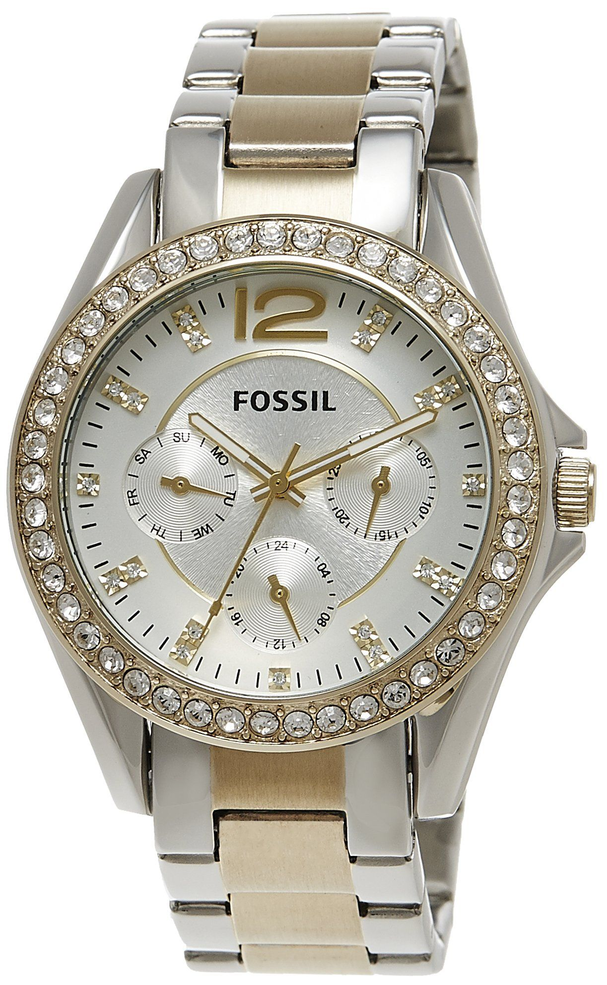 c9f1075cb68 Amazon.com  Fossil Women s ES3204 Riley Silver and Gold Tone Watch  Fossil  Watches  Watches
