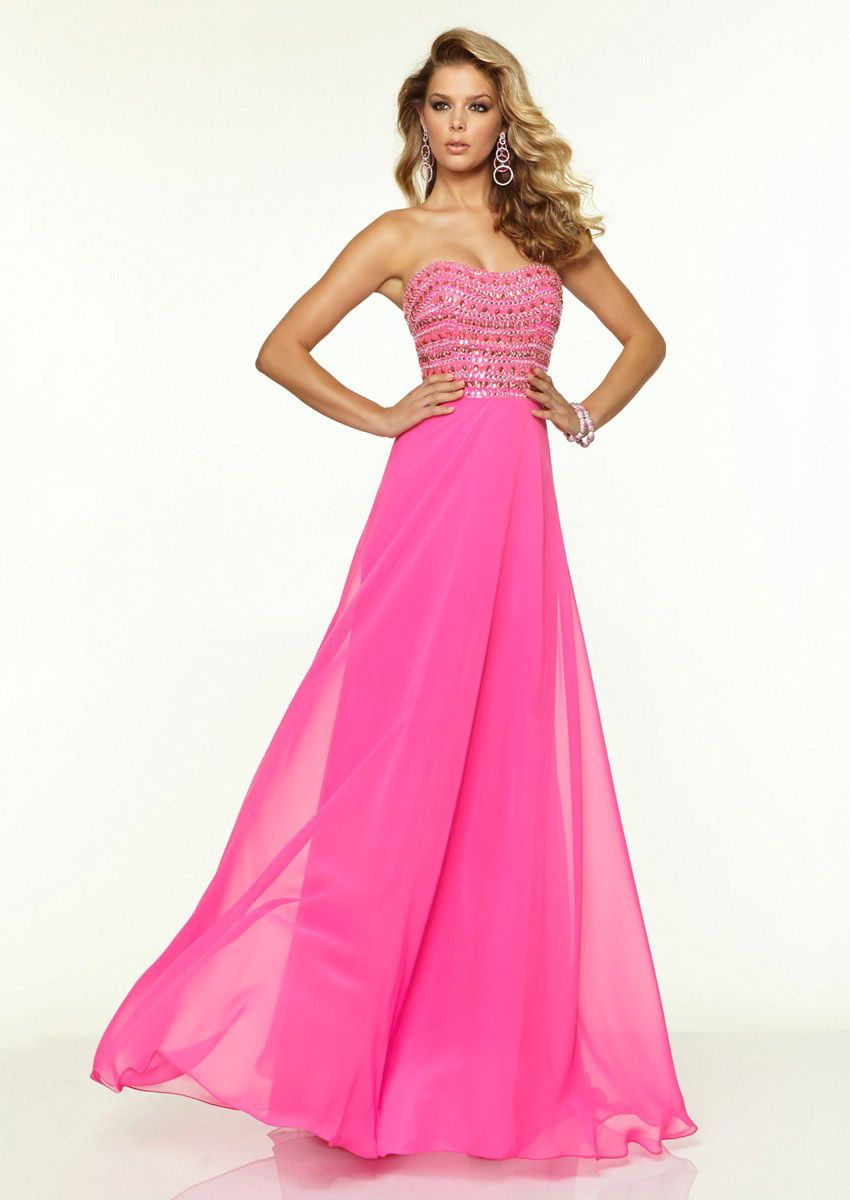 Luxury Beaded Hot Pink Sweetheart Floor Length Chiffon A Line Prom ...