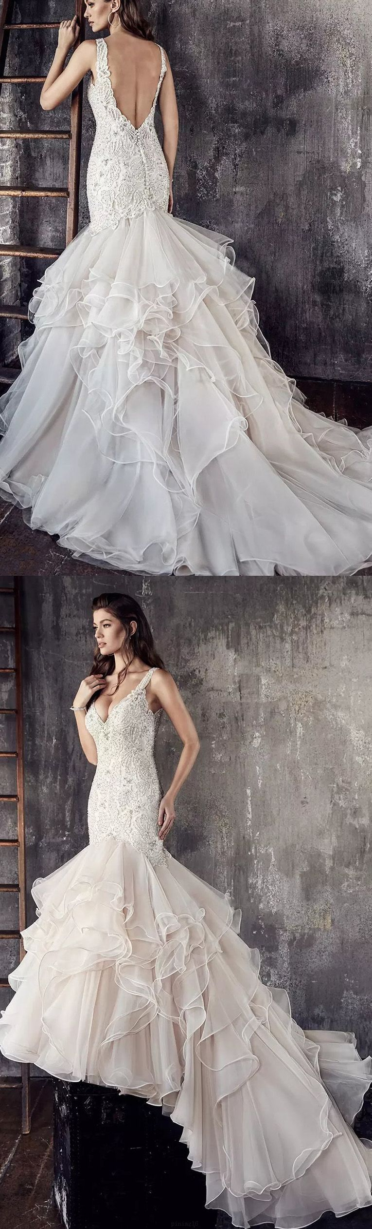 Custom made mermaidtrumpet wedding dresses long ivory dresses with