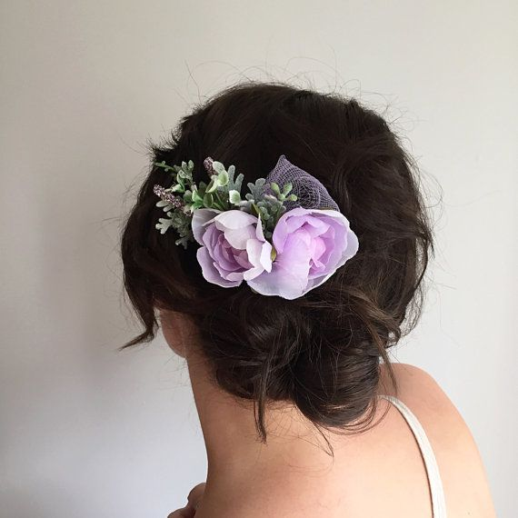 Lavender Bridesmaids Comb Purple Wedding by OhDinaFlowerCrowns