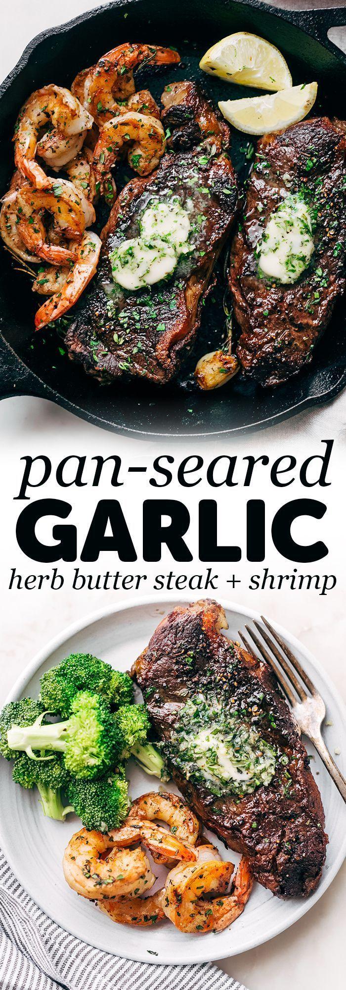 Garlic Butter Skillet Steak and Shrimp - tender cooked steak and juicy shrimp al... -