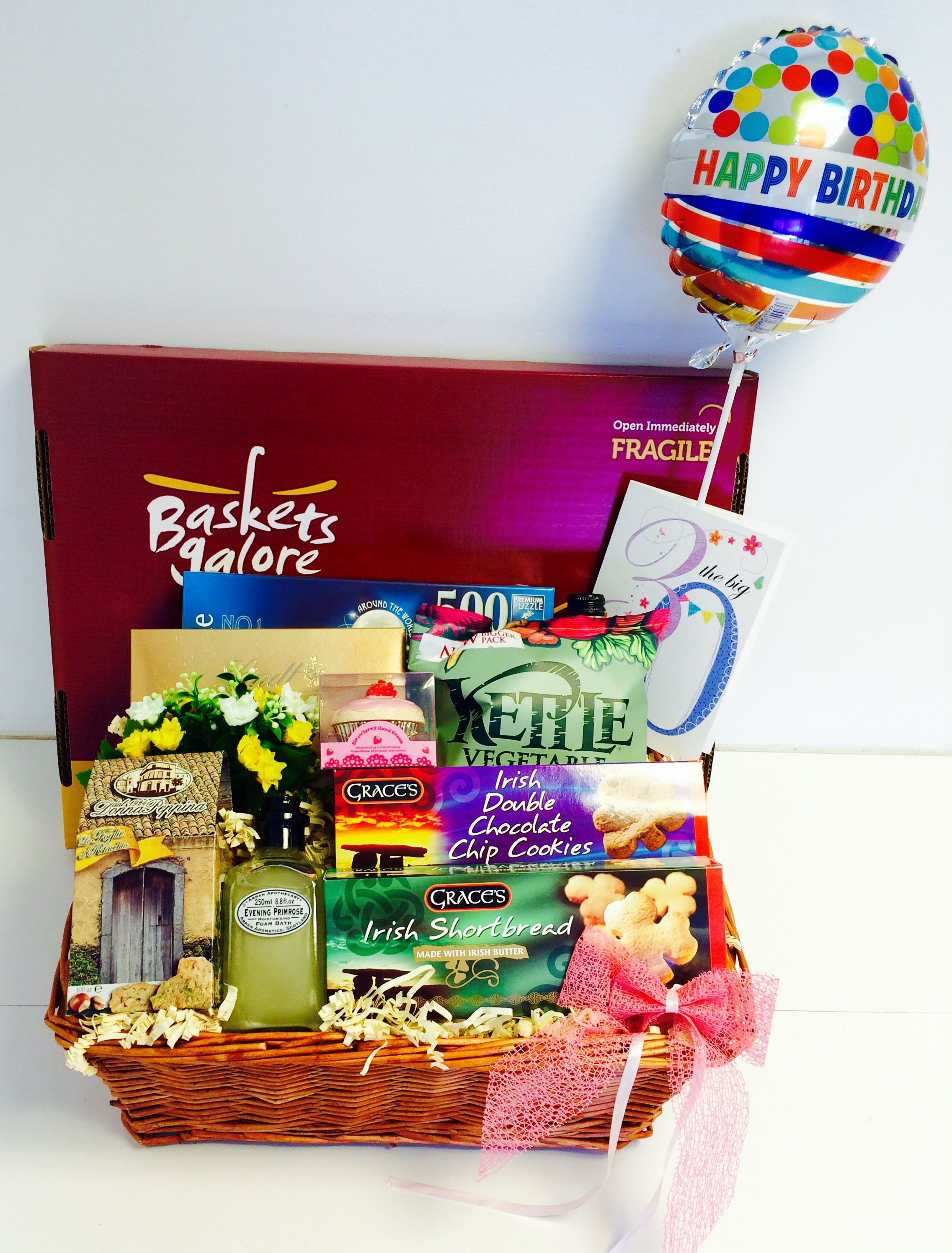 30th Birthday Gift Basket For Her With A Balloon Selection Of Biscuits And Pampering Goodies 30thbirthdaygift