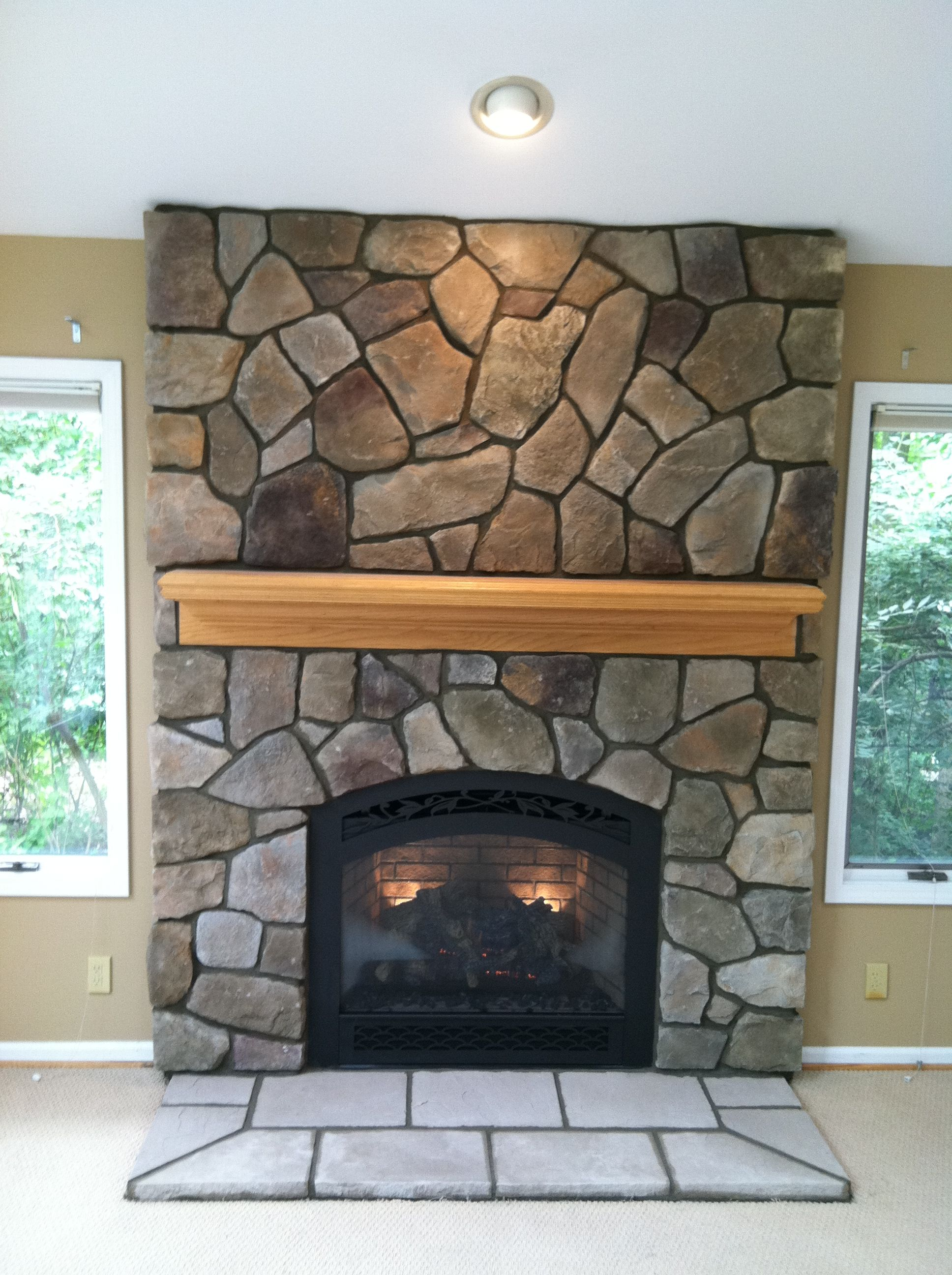Cultured stone fireplace surround - Bucks County Dressed Fieldstone By Boral Cultured Stone With Wood Mantel 864 Fpx Dv Gas