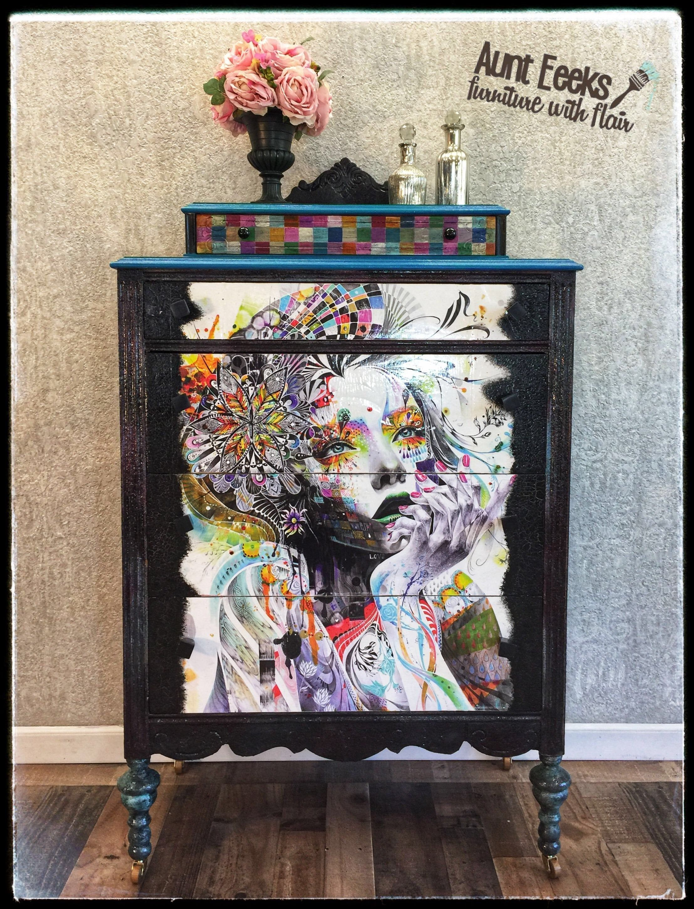 Sold Hand Painted Antique Chest Of Drawers Dresser Art Furniture Antique Chest Painted Furniture