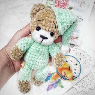 Crochet teddy bear in pajamas | Amiguroom Toys