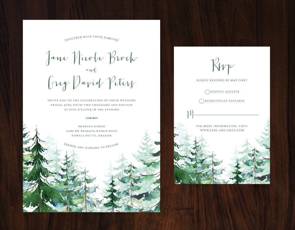 Photo of Pine Trees Wedding Invitation, Forest Wedding Invitation, Wo…