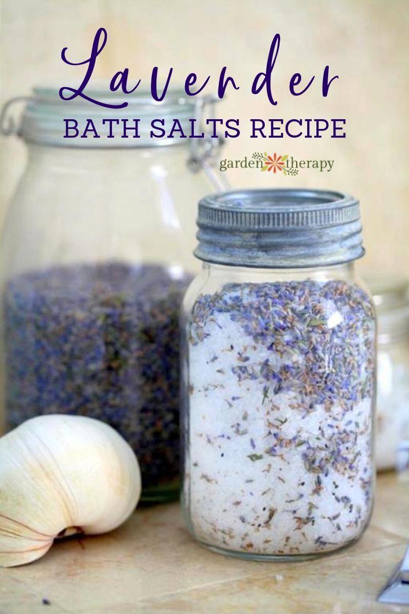 Easy homemade lavender bath salts recipe in vintage mason