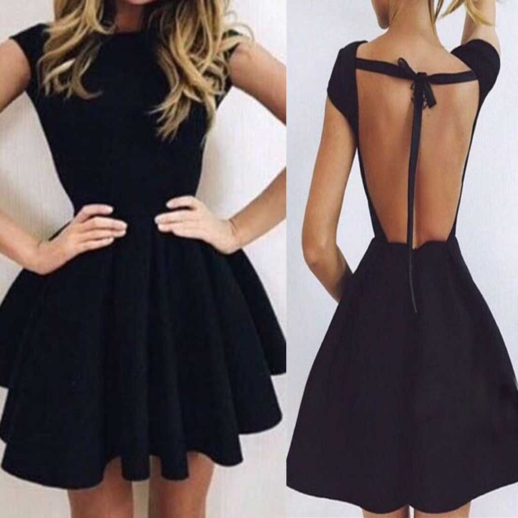 Short sleeve black mini open back unique sexy charming homecoming