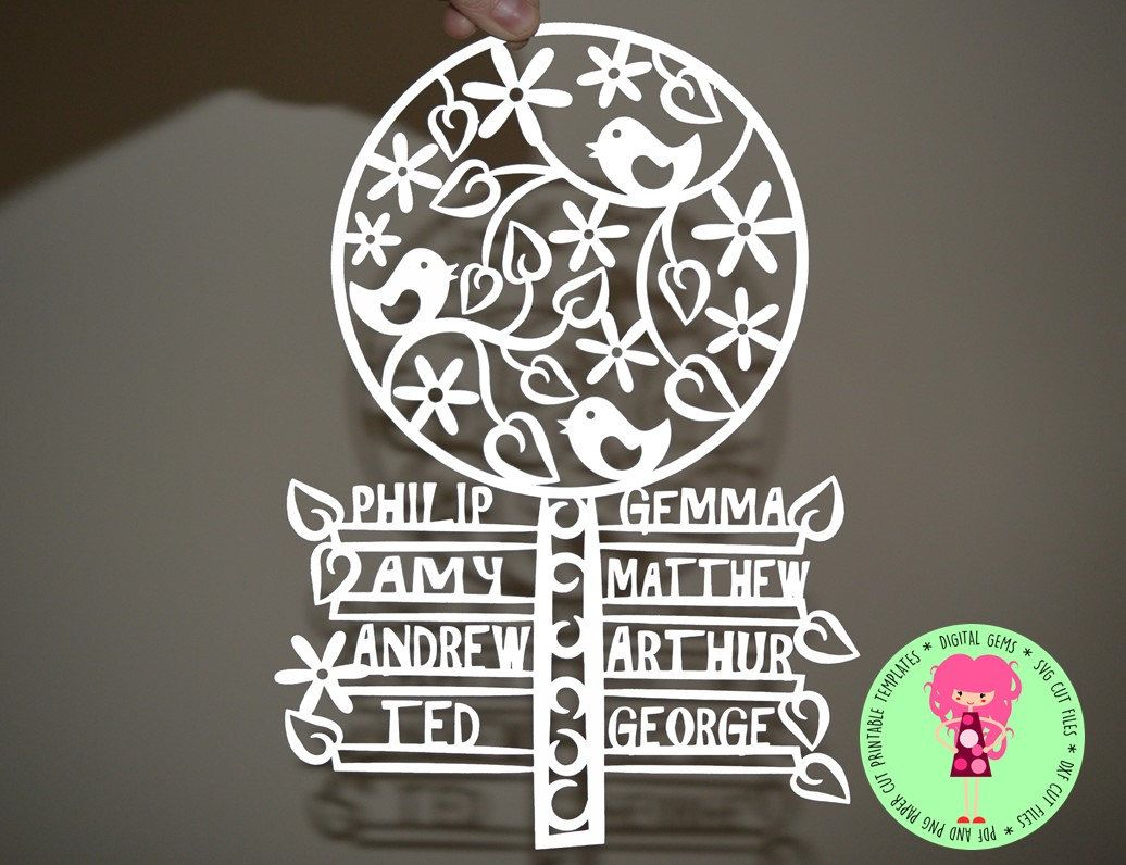 Family Tree Papercut Template Svg Dxf Cutting File For Cricut