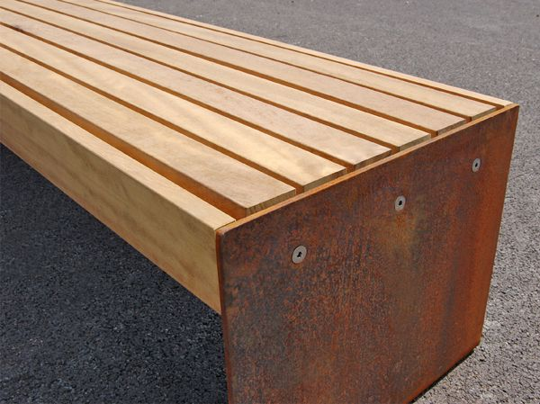 Elements Plate End Benches And Seats Timber And Steel Timber Slats Steel Furniture Corten Steel