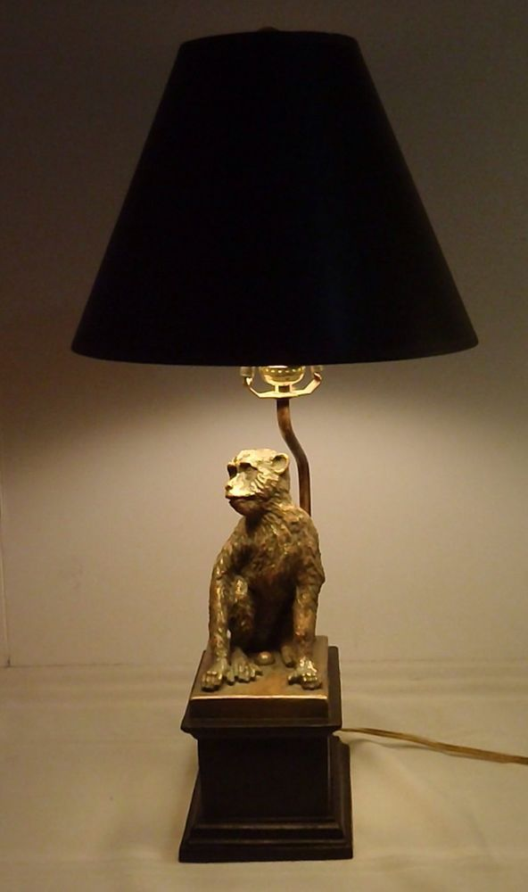 Euc Monkey Lamp Sitting Chimp With Shade 24 Tall Safari Money Table Lamp Lamp Table Lamp Lamp Light