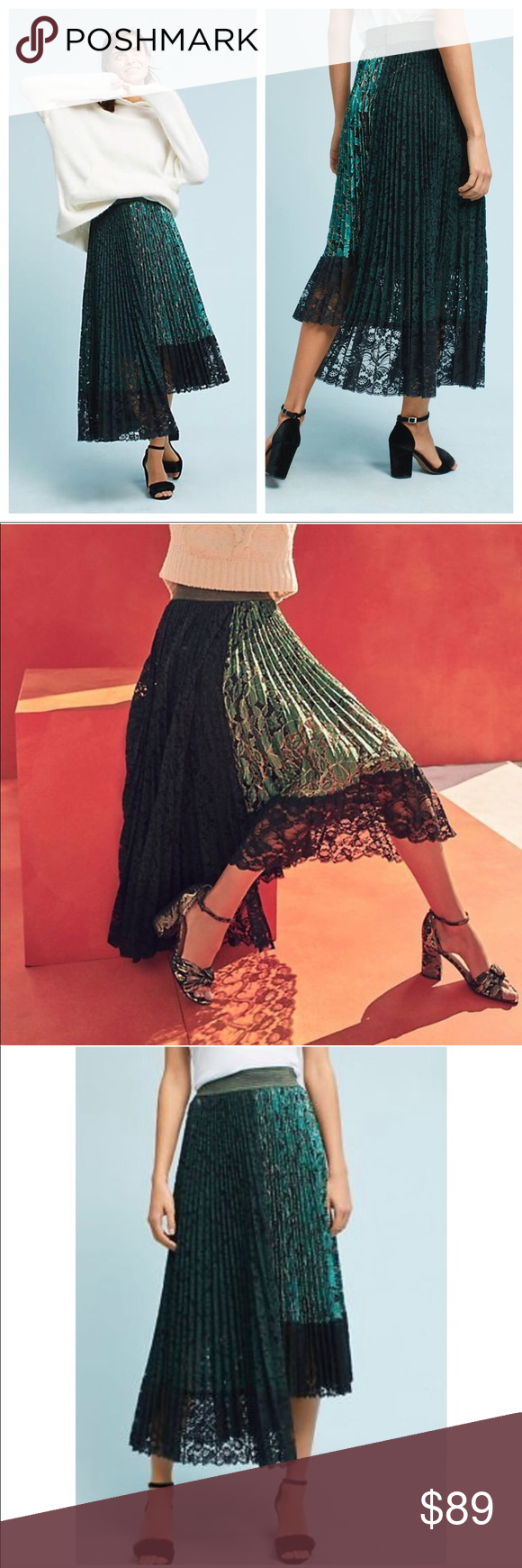 4078b2aa15 Anthro Shimmer Asymmetric Lace Pleated skirt Anthropologie Shimmer  Asymmetric Pleated Lace Midi skirt by Vivienne Tam