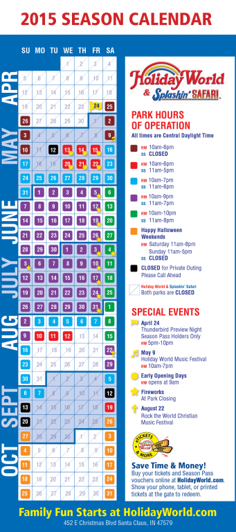 Park Hours 2019 Holifacts Holihumor Holiday World Holiday