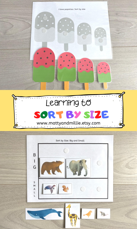 Sort By Size Printable Matty And Millie Sorting Kindergarten Educational Printables Pre K Worksheets [ 3000 x 1800 Pixel ]