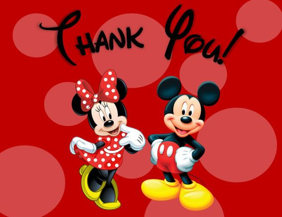 Minnie And Mickey Mouse Thank You Cards Printable Digital File 2