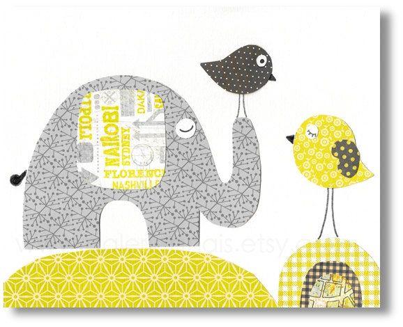 Nursery print, childrens art print, kids wall art, kids room decor, elephant nursery, bird, yellow, gray, Travellers 8x10 print