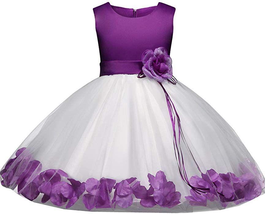 03c54117f778 Ankoee Princesa Vestido de niña de flores para la boda Vestidos de Dama De  Honor Sin mangas Fiesta Tul Bowknot Comunión Cumpleaños Bola Vestir 3-8  Años ...