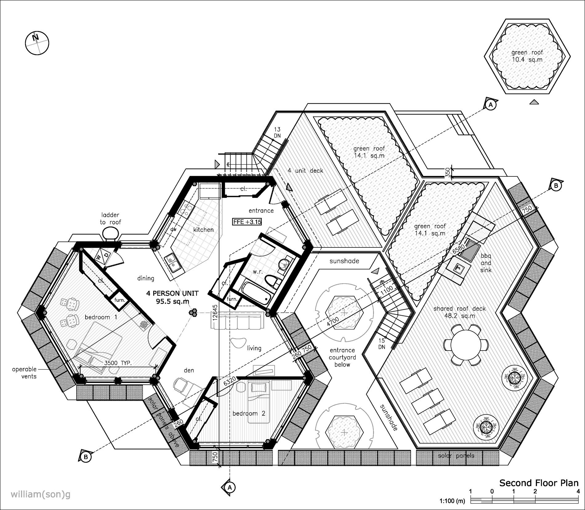 Hexagon house plans willian son g buscar con google for Pre drawn house plans