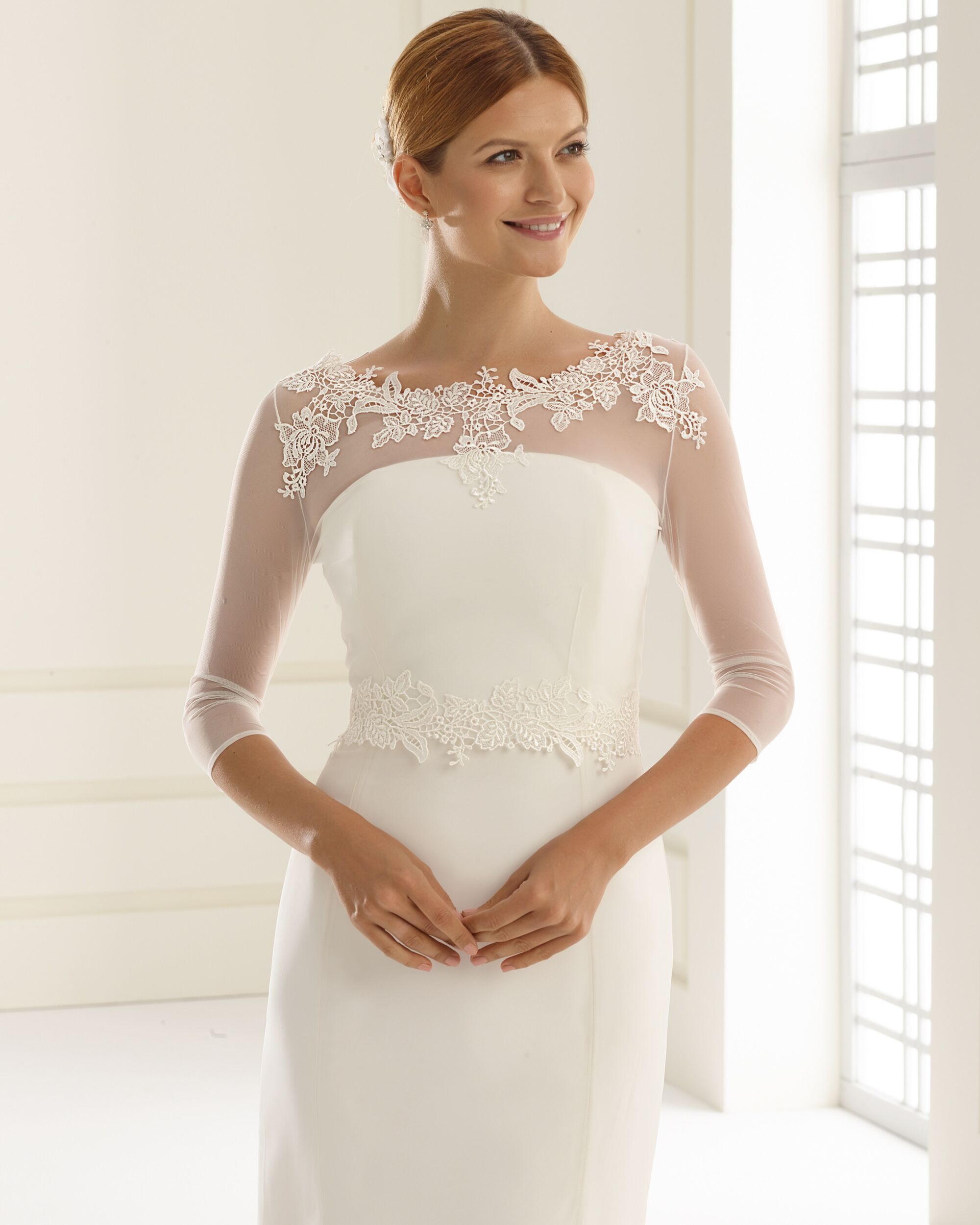 74c3b9ca Timeless and elegant stretch tulle bridal bolero with lace detail in light  ivory. This gorgeous lace wedding jacket has lace covered button detail at  the ...