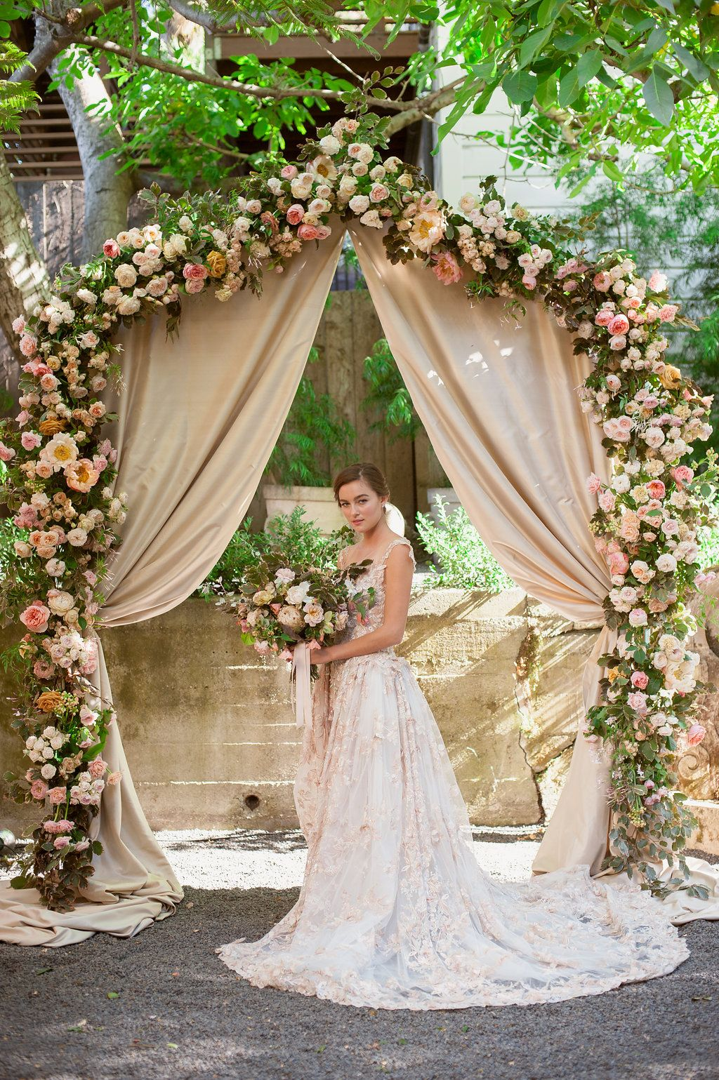Blush Wedding Dress Galia Lahav Israel Designer Floral Lace