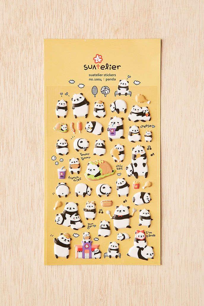 Panda puffy stickers set