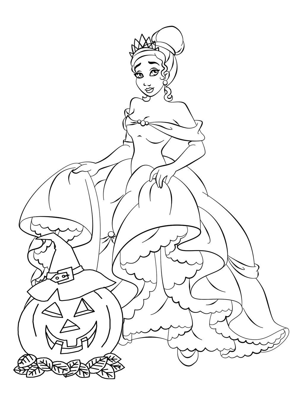 Online childrens coloring pages - Disney Princess Free Disney Halloween Coloring Pages