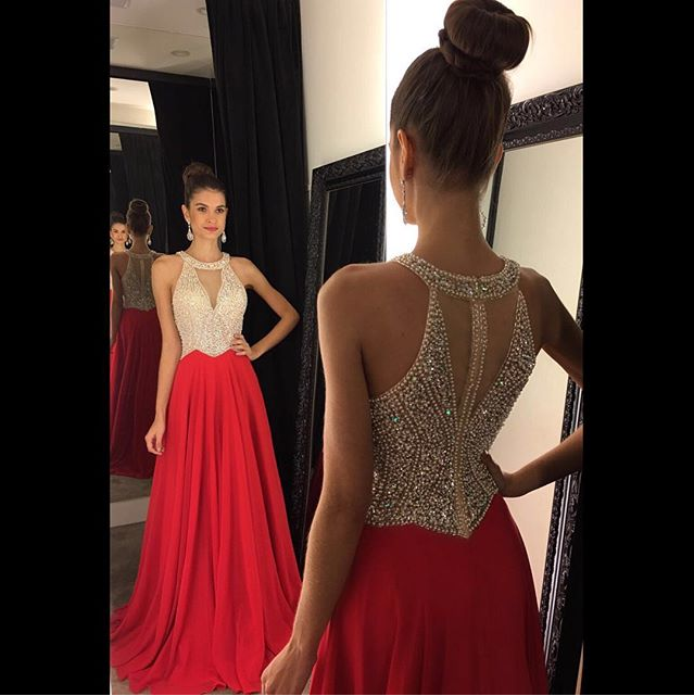 Red Beading Long Prom Dress I1207