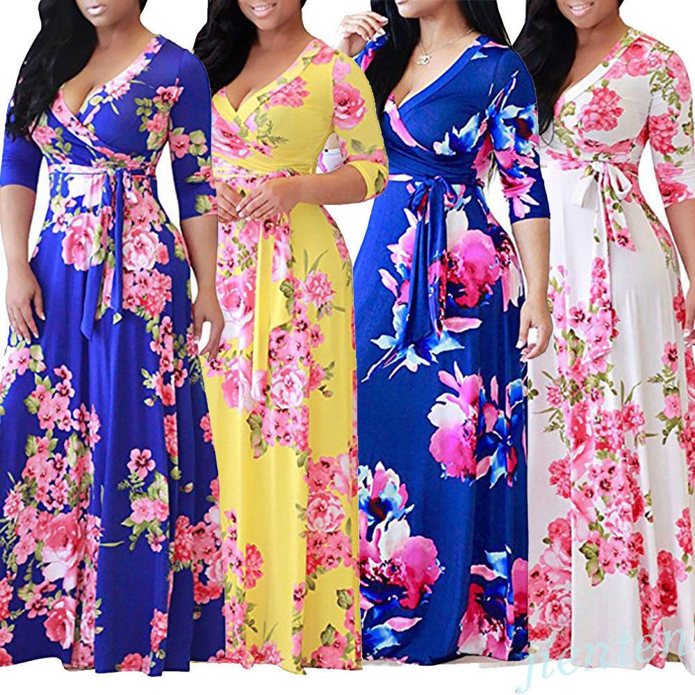 color women boho floral long maxi dress sleeve summer beach