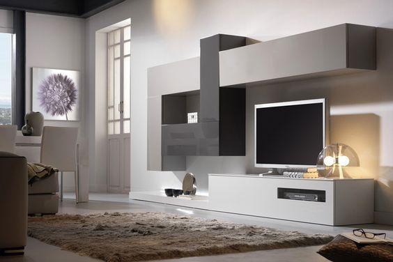 Composici n modular 9 en blanco gris perla y gris for Mueble salon minimalista