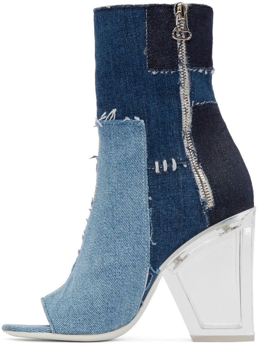 020d53815030 Off-White - Blue Denim Patchwork Boots