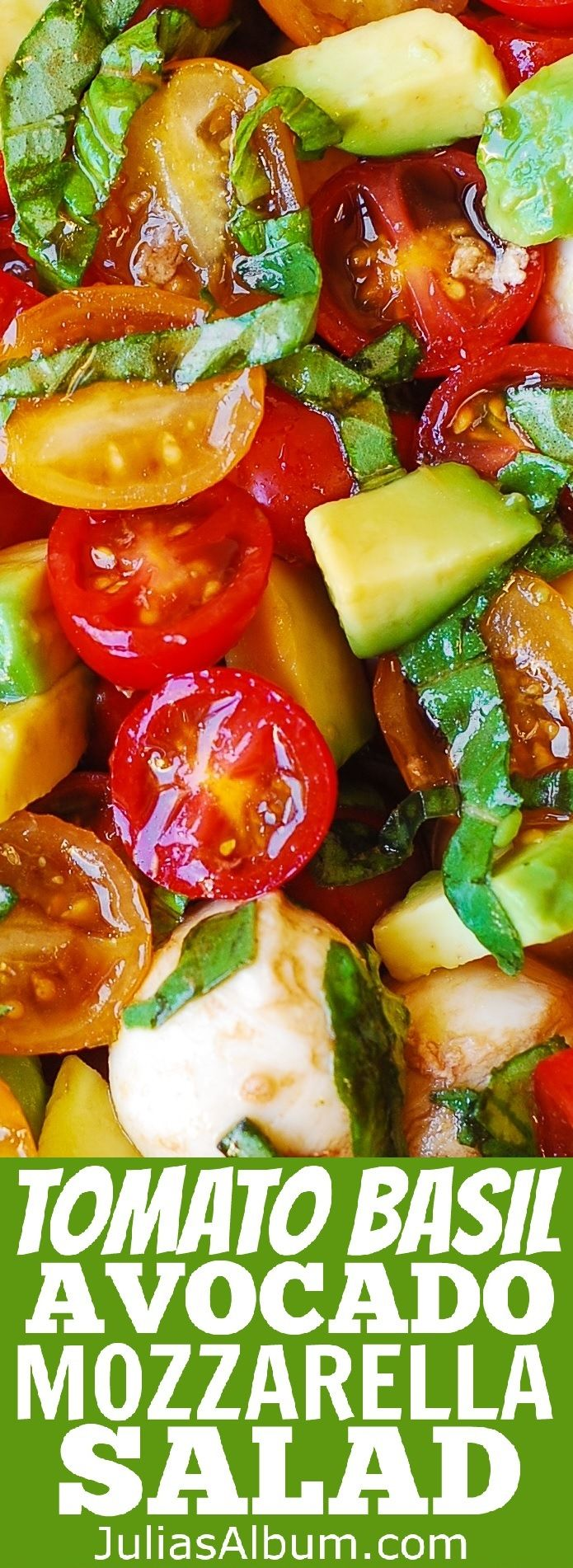 Tomato Basil Avocado Mozzarella Salad with Balsamic Dressing - #healthy #glutenfree #gf