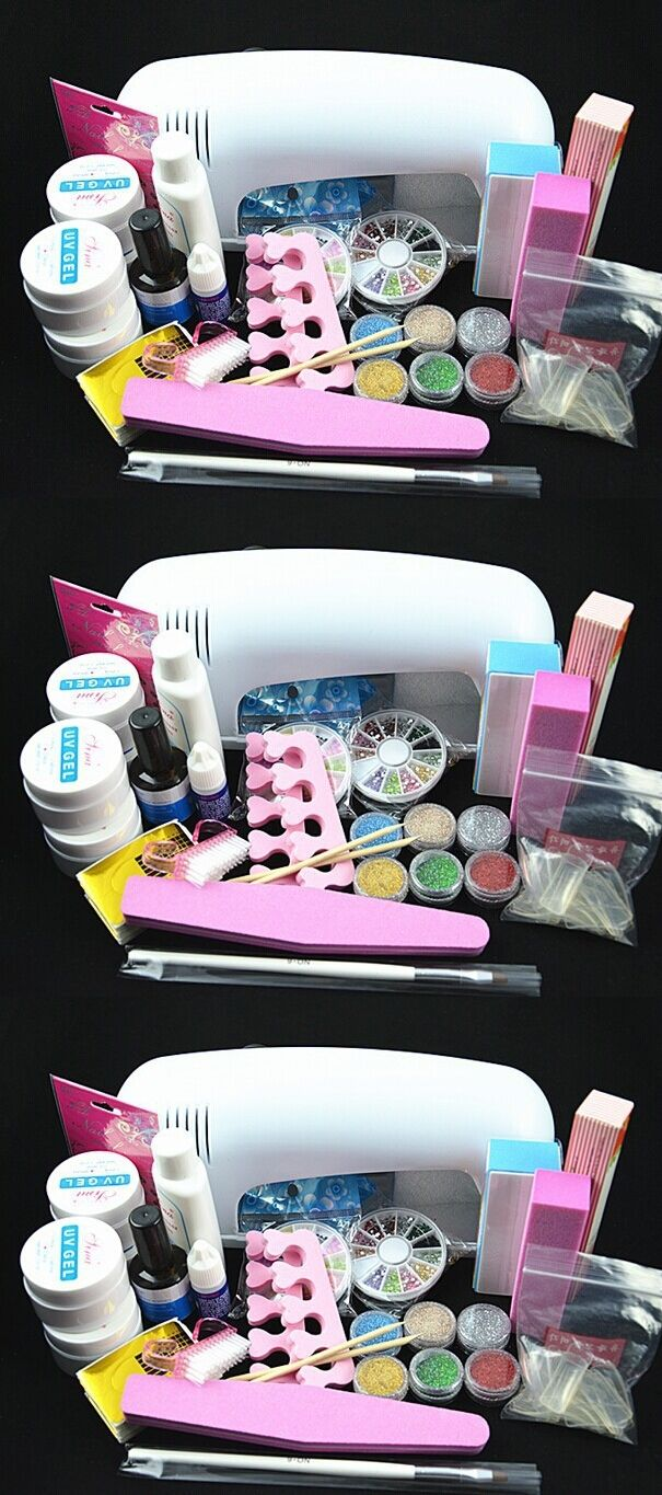 BTT-77 Professional Full Set UV Gel Kit Nail Art Set + 9W Curing UV ...