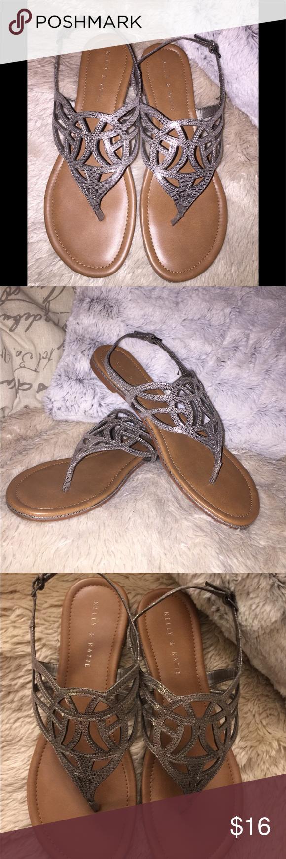 5ffc5bbdb7b8 Kelly   Katie Silver Sandal Pewter metallic flat Patrice sandal. Worn once.  Kelly   Katie Shoes Sandals