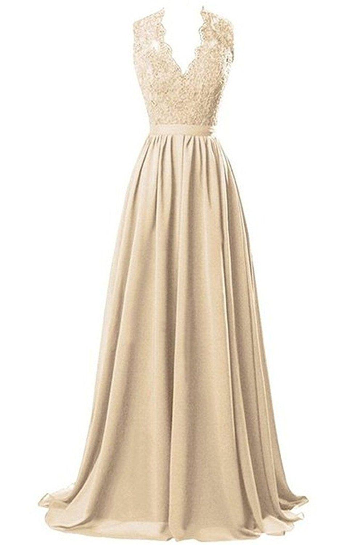 Nina vneck long chiffon open back bridal prom evening dress