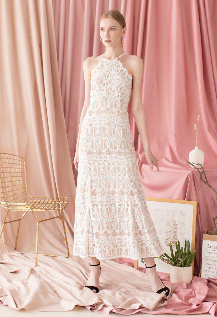 Captivate All Eyes Halter Neck Lace Maxi Dress White Lace Maxi Dress Lace Maxi Dress Lace Mesh Dress