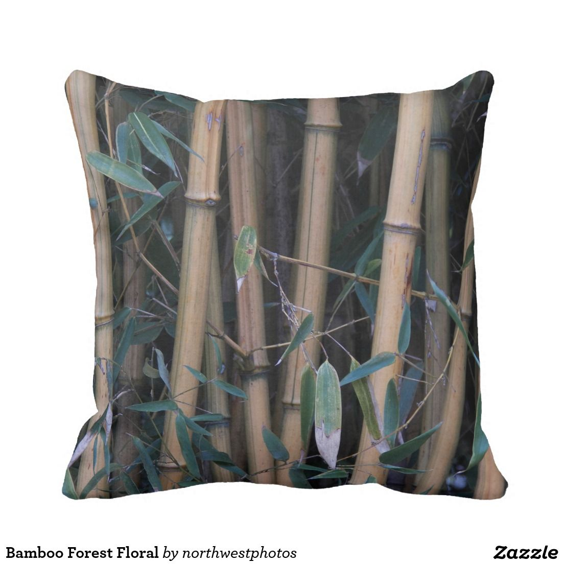 Bamboo Forest Floral Throw Pillow