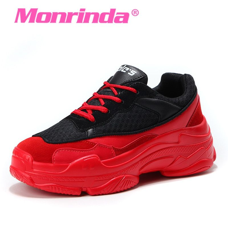 31ae733ec Monrinda Red Sneakers Women Running Shoes Spring Autumn Outdoor Sports  Shoes Female Trainers Walking Lace up