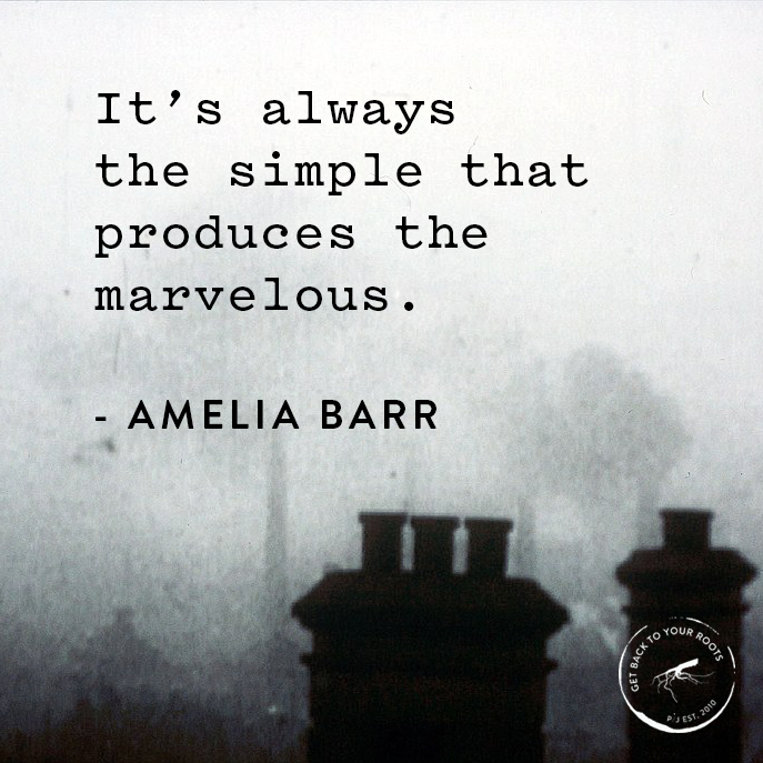 """""""It's always the simple that produces the marvelous."""" -Amelia Barr"""