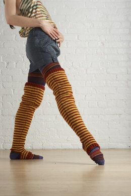 Striped Thigh Highsin Lion Brand Vanna's Choice - 70691AD