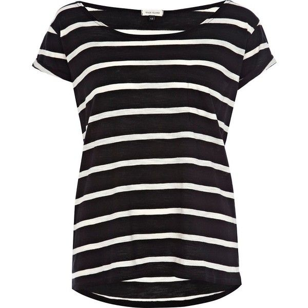 River Island Black stripe boxy t-shirt (10 AUD) ❤ liked on Polyvore featuring tops, t-shirts, shirts, tees, river island, black striped shirt, black tee, boxy t shirt, striped tee e stripe shirt