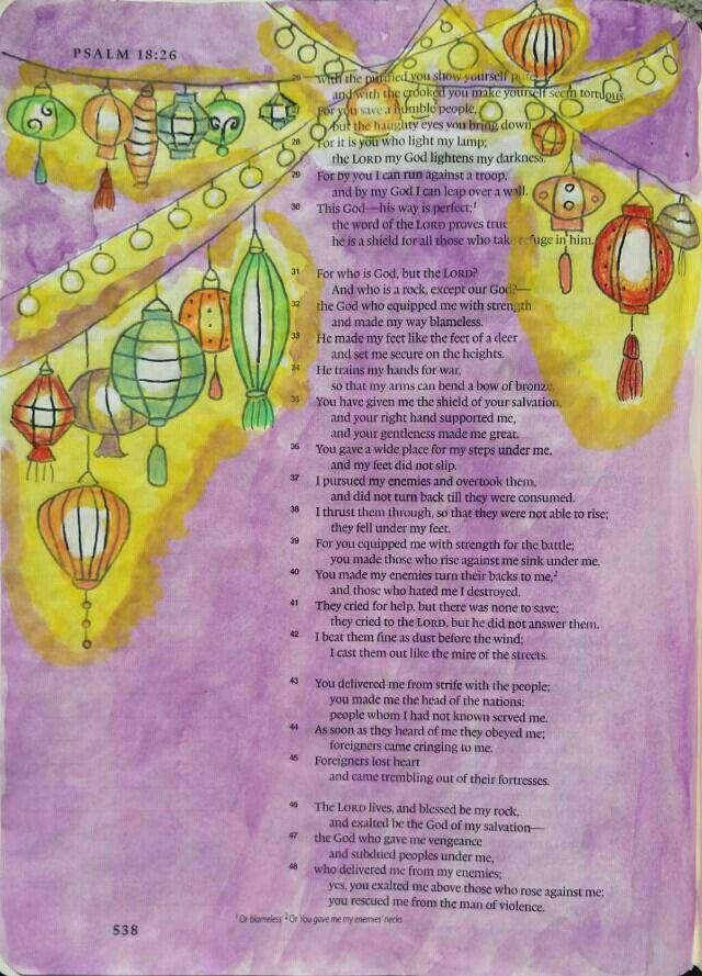 Psalm 18:28 Bible art journaling by @peggythibodeau www.peggyart.com Inspired by @amorningcupofgod