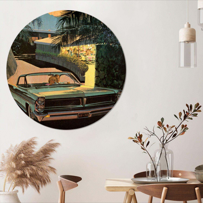 Wandcirkel Klassieke Auto S Illustratie Aluminium Illustratie Vanklassieke Auto Auto Illustratie Klassieke Auto S Illustratie