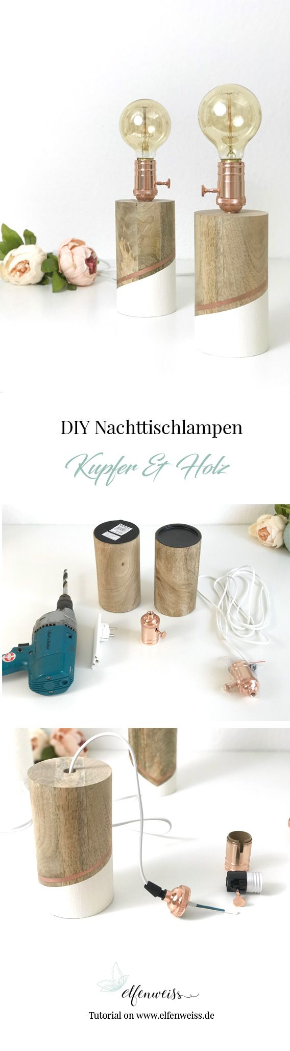 diy nachttischlampe kupfer holz diy home pinterest decoraci n hogar decoraci n de. Black Bedroom Furniture Sets. Home Design Ideas