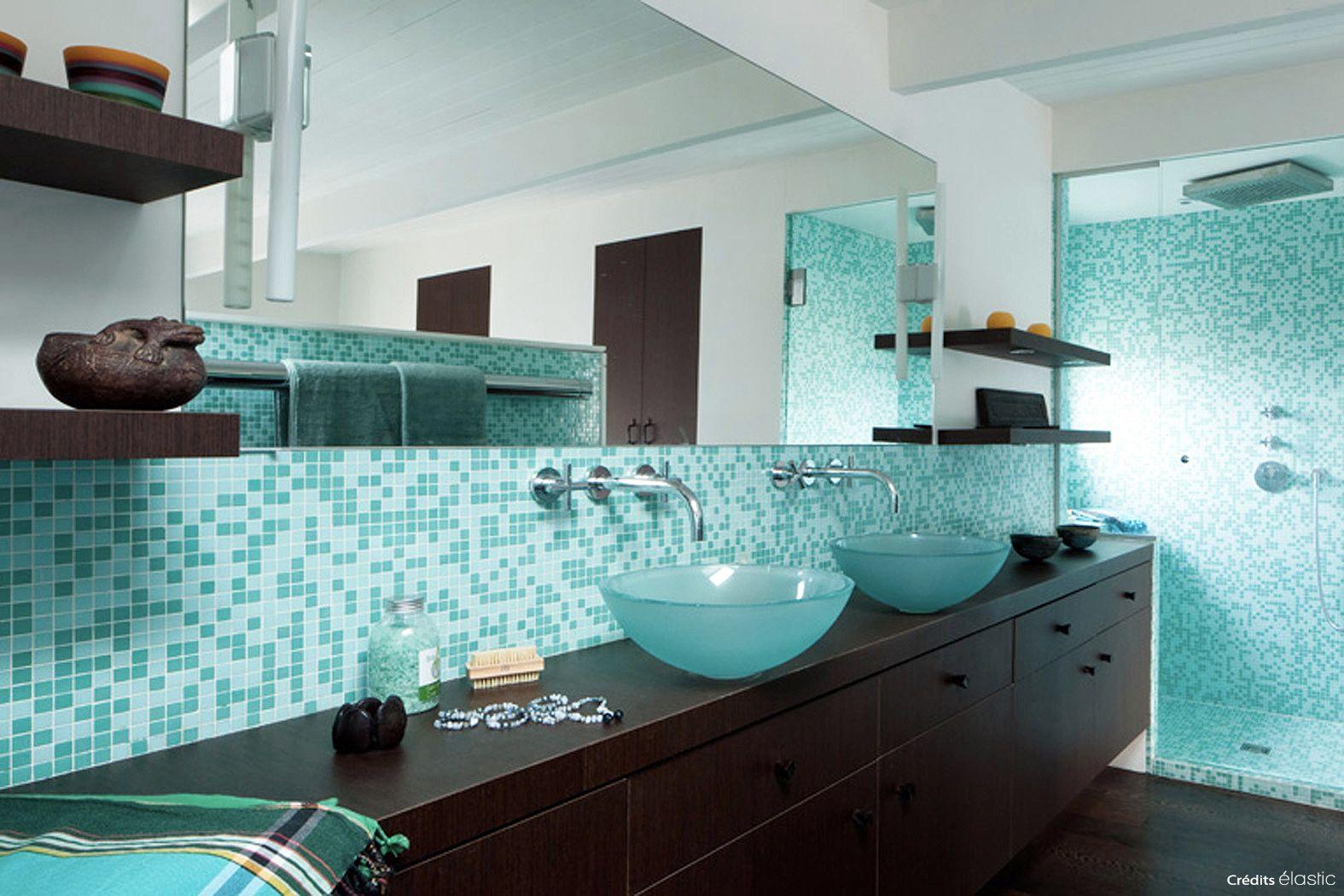 Salle De Bain Ouvert Meubles En Wenge Et Mosaique Turquoise Douche A L Italienne Double Vasque Douche Italienne Salle De Bains Ouverte Mobilier De Salon