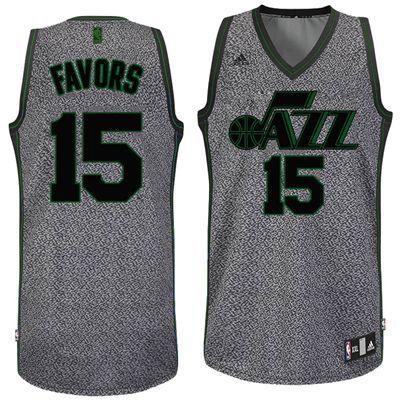 Utah Jazz Adidas NBA Derrick Favors  15 Static Swingman Jersey (Gray ... 23ad02e72
