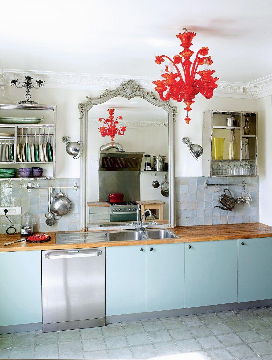 Un miroir pour multiplier la largeur d 39 une pi ce kitchen dining room eclectic kitchen - Case colorate interni ...